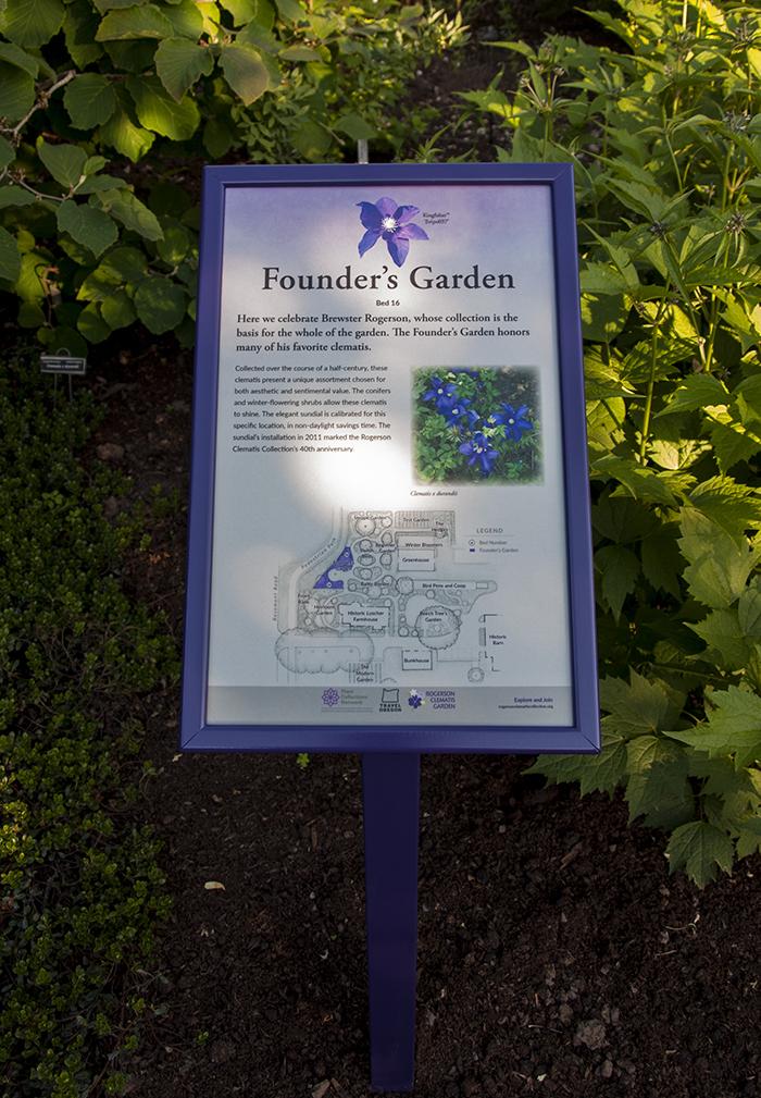 Rogerson Clematis Garden - Founder's Garden Sign