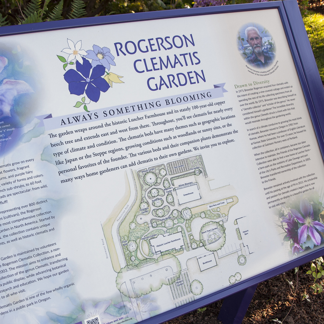 Rogerson Clematis Garden - Introduction Panel Close-up