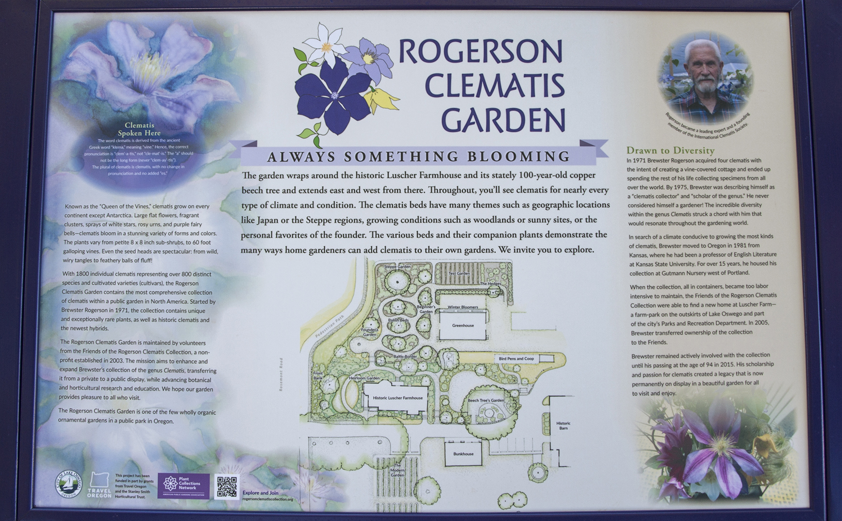 Rogerson Clematis Garden - Intro Panel Close-up
