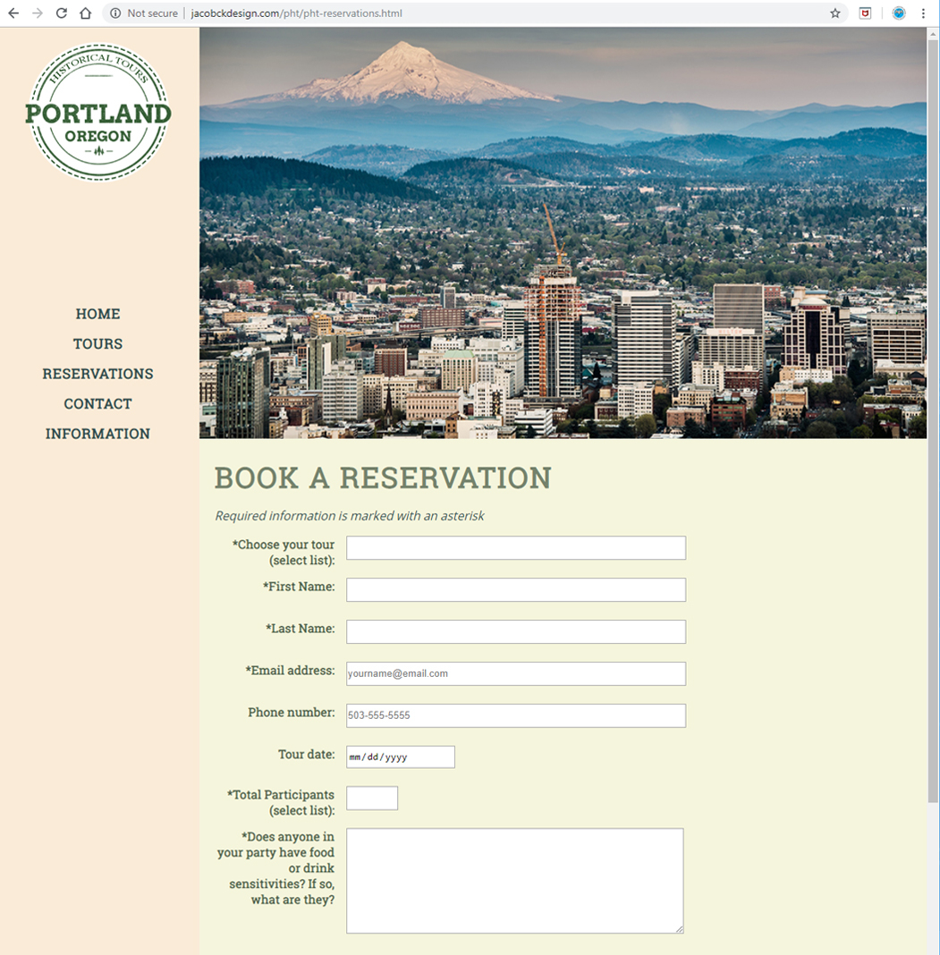 Portland Historical Tours - Reservations Page