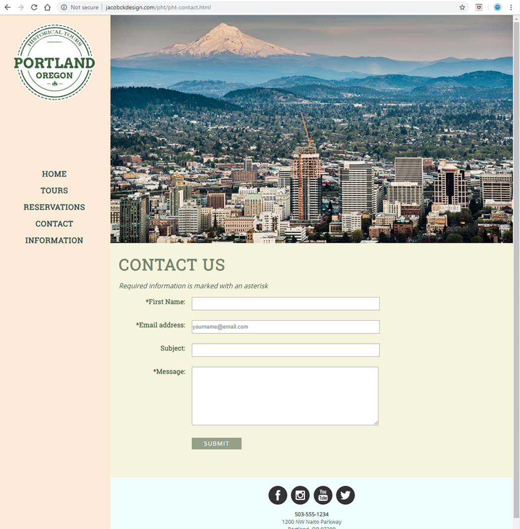 Portland Historical Tours - Contact Us Page