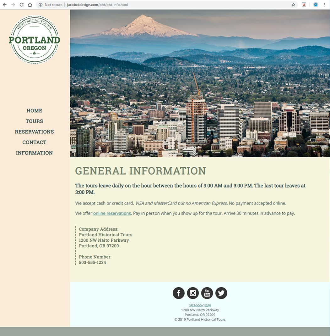 Portland Historical Tours - General Information Page
