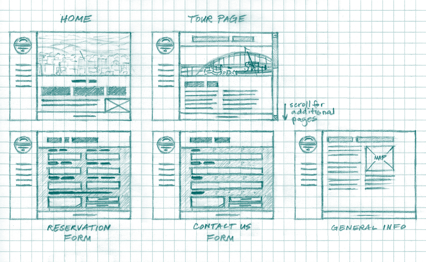 Portland Historical Tours - Wireframe Sketches