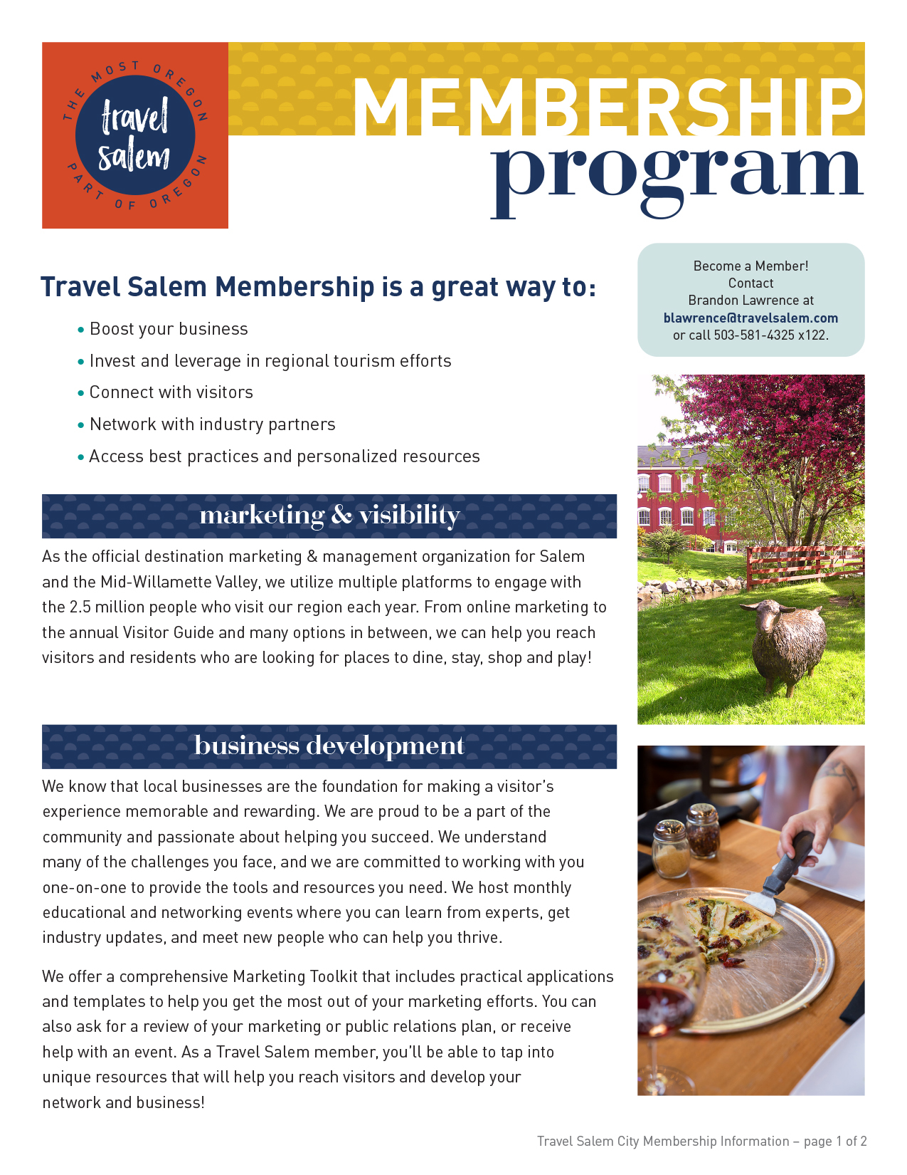 Travel Salem City Membership Information Flyer